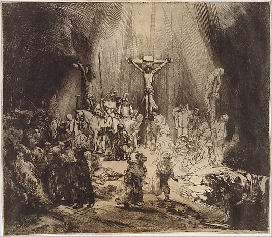 Christ Crucified between the Two thiesves The Three Crosses Rembrandt van Rijn 1653